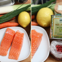 Pyramide de saumon aux carottes confites à la coriandre